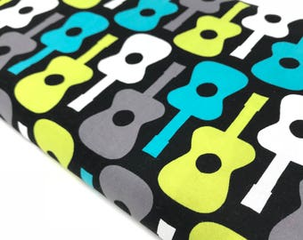 Guitar Fabric By The Yard, Michael Miller Fabric Groovy Guitars, Cotton Boy Fabric, Turquoise and Black Fabric