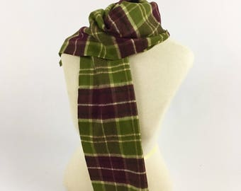 Vintage Winter Scarf - Merino Wool - Made in West Germany - Green Burgundy Plaid - by Carson Pirie Scott - Vintage Plaid Wool Scarf - 1970s