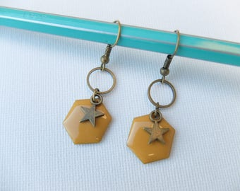 Star and mustard yellow Hexagon sequin earrings