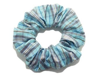 Scottish Tartan Turquoise hair scrunchie.