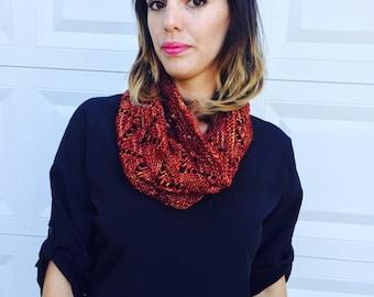 saffron knit cowl, merino wool, chevron