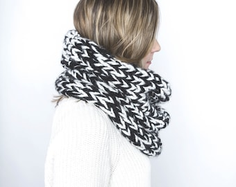 Large Chunky Knit Cowl Neck Warmer Two Tone | THE FRINK