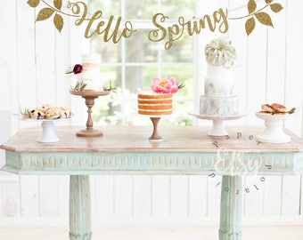 Spring banner. Hello Spring, Garland, cheerful banner, Spring decorations, gold glitter party decorations, cursive banner, spring fling