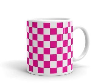 Pink Checkerboard Pattern Coffee Mug