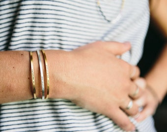 Inspirational Minimalist Bracelet | Handmade Hand Stamped Delicate Bracelet | PERSONALIZED | Sterling Silver | Gold | Rose Gold