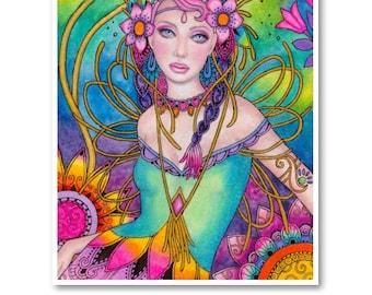 Signed 8 x 10 Print Fairy Garden Art Pink Nouveau Goddess Diva Mother Nature B. K . Lusk