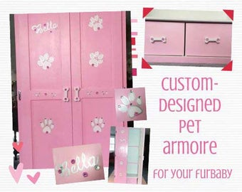 Lg Pet armoire, pet wardrobe, custom designed, hand painted, dog closet, pet clothes closet, dog wardrobe closet, pet furniture,dog armoire