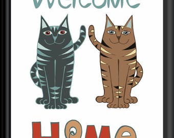 Welcome Home no.1 Cat Art Downloadable Print