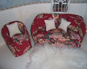 1:6th scale Barbie Dollhouse Handcrafted Sofa and Chair BARBIE BLYTHE Living Room Bedroom Red Floral  Carpet