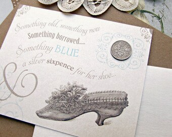 Something old new borrowed blue a lucky silver sixpence tucked in her your shoe wedding bridal shower gift card