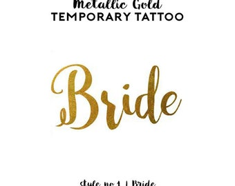 Team Bride Bachelorette Tattoos | Metallic Gold Temporary Tattoos for Bachelorette Party Favors, Pineapple Flamingo Tattoos, Gold Foil Tats