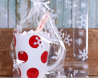 Christmas Cookie Bags, Large Snowflake Cellophane Bags & Twist Ties, Hot Cocoa Mug Bags, Candy Bags, Snowflake Favor Bags, Goodie Bags