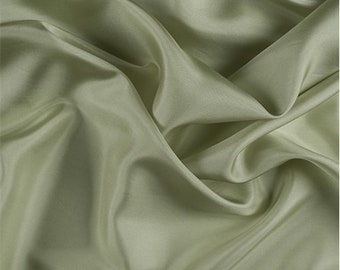Celery Silk Crepe de Chine, Fabric By The Yard