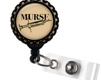 Murse - Tan and Black Retractable Badge Reel ID Holder
