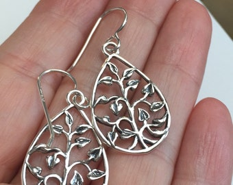 Tree of Life Earrings, All Sterling Silver Tree of Life Earrings , minimalist jewelry, nature inspired jewelry, nature.
