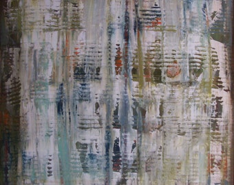 Large mixed media painting, original modern abstract painting on stretched canvas 30'' x 30'', ''Mystical Silence'' by Angele Sage