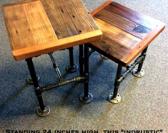 Industrial Side Table With Reclaimed Wood And Black Pipe 24 Inches Tall