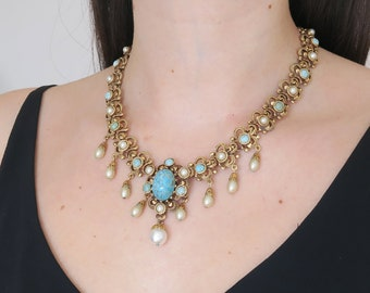 Vintage 1960s Gold Tone Duck Egg Blue Glass Faux Pearl Statement Necklace