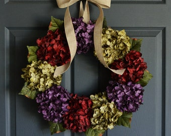 Spring Wreath | Front Door Wreaths | Outdoor Wreaths | Wreaths for Door | Easter Wreath | Hydrangea Wreath
