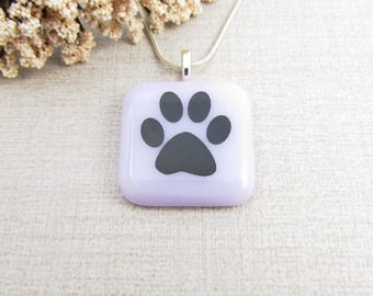 Lavender Glass Paw Print Pendant - Fused Glass Paw Print Necklace - Dog Pendant - Fused Glass Animal Jewelry
