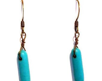 blue green turquoise stone spikes earrings beaded minimalist earrings southwest jewelry southwestern earrings gifts for her Christmas gifts
