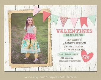 Rustic Valentines Day Mini Session Template - valentine mini sessions - photography marketing template