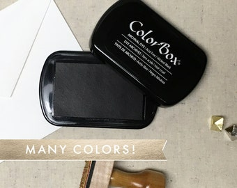 ColorBox Pigment Ink Pad - Full Size ColorBox Ink Pads - Many Colors Available - Black Ink, Navy Blue, Red, Green - Slow Drying Ink Pad