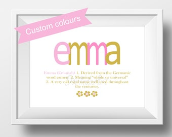 Custom baby name etsy name meaning print baptism gift girl baby girl name meaning art personalized name definition christening gift negle Images