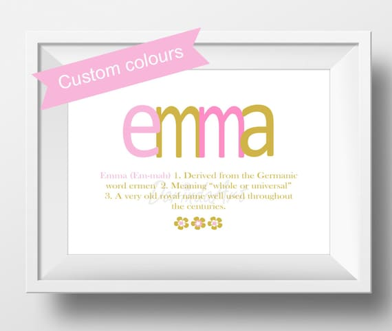 Name meaning print baptism gift girl baby girl name meaning like this item negle Choice Image