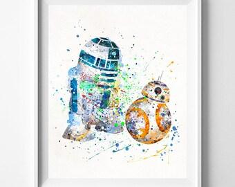 Star Wars Print, BB8 Art, R2D2 Poster, Star Wars Poster, BB8 Poster, R2D2 Print, Watercolor Art, BB8 Print, Baby Shower Gift, Dorm Art