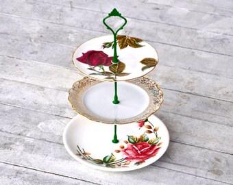 Champagne: Wedding Decoration, Pink Green Gold Cake Stand, Spring Wedding, Wedding Centerpiece, Wedding Gift, Anniversary, Cake Stand