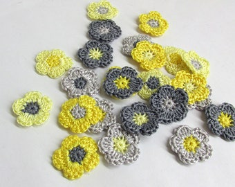 Crochet flowers, 24 pc., tiny appliques, 1 inch, gray yellow mix, small patches, scrapbooking embellishment