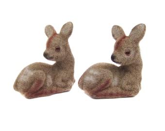 2 Vintage Deer Figurines, Flocked Plastic Fawns, Christmas Deer Flocked Animal Figures