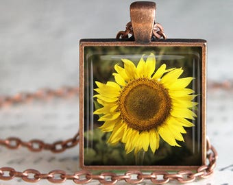 Vibrant Sunflower Pendant, Necklace or Key Chain - Choice of Silver, Bronze, Copper or Black