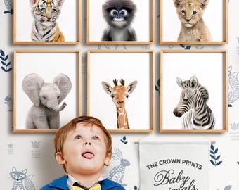 Safari nursery decor, PRINTABLE art, Safari animal prints, Nursery wall art, Giraffe print, Elephant print, Baby room, The Crown Prints Shop