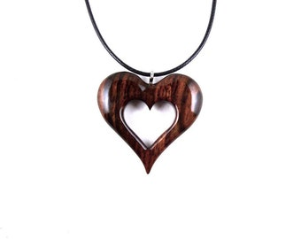 Wooden Heart Necklace, Wood Heart Pendant, Heart Carved Pendant, 5th Anniversary Gift for Her, Heart Necklace, Wood Jewelry, Heart Jewelry