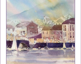 Polperro Harbour, Cornwall. A watercolour 17 steps download project