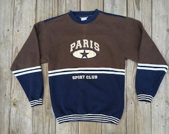 Paris Sport Club Sweatshirt  90's Grunge Blue Green Medium