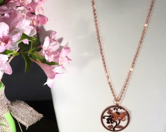 Dainty Butterfly Rose gold necklace
