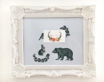 magnets animals forest wood rabbit OWL bird fabric decorative fridge magnet kit