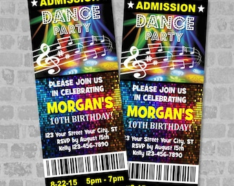 Ticket Dance Party Invitation, Custom Boy or Girl Disco Lights Dance Birthday Party Ticket Invites, Digital Or Printed