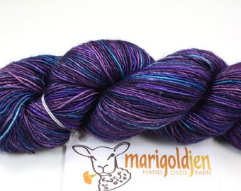 Blueberry Buckle--hand dyed sock weight yarn, merino and silk single ply, (438yds/100gm)