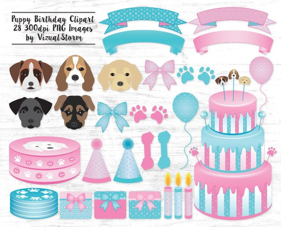 Puppy Dog Birthday Party Clipart Boy Girl Baby Shower Party