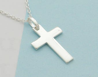 Cross and silver chain necklace