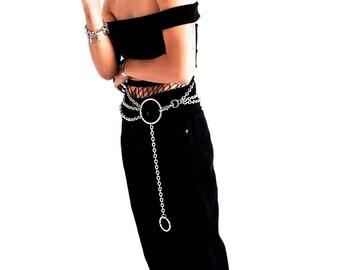 Hüftgürtel bauchkette Ketten o ring Gürtel Gothic Silber Vintage 70cm - 150 cm bely belt chain