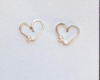 Dainty Heart Stud Earrings, Dainty Heart Post Earrings, Silver Heart Pearl Earrings