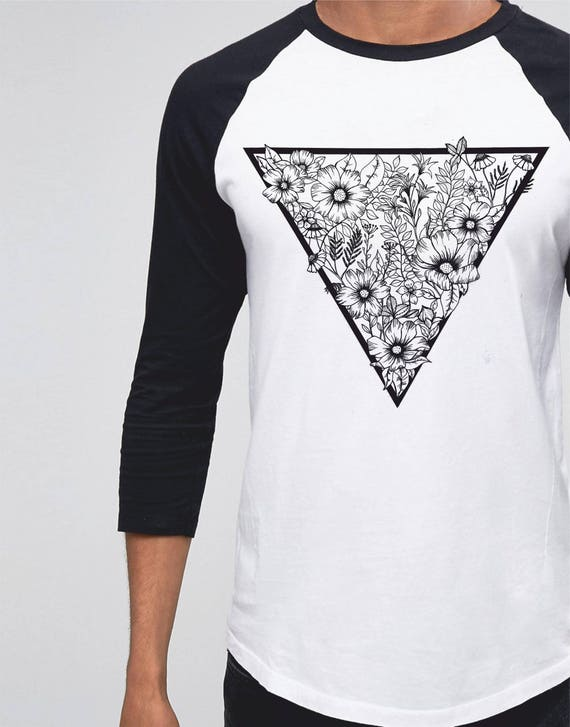 Triangle Flowers | Unisex Raglan T-Shirt | 3/4 sleeves | Basketball shirt | Apparel for her / him | Pen and Ink| Superman / Superwoman |