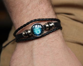 Zodiac bracelet 12 Constellation Bracelet Men Braided PU Leather Bracelets Bangles Virgo Sagittarius Aquarius Scorpio Libra Capricorn Aries