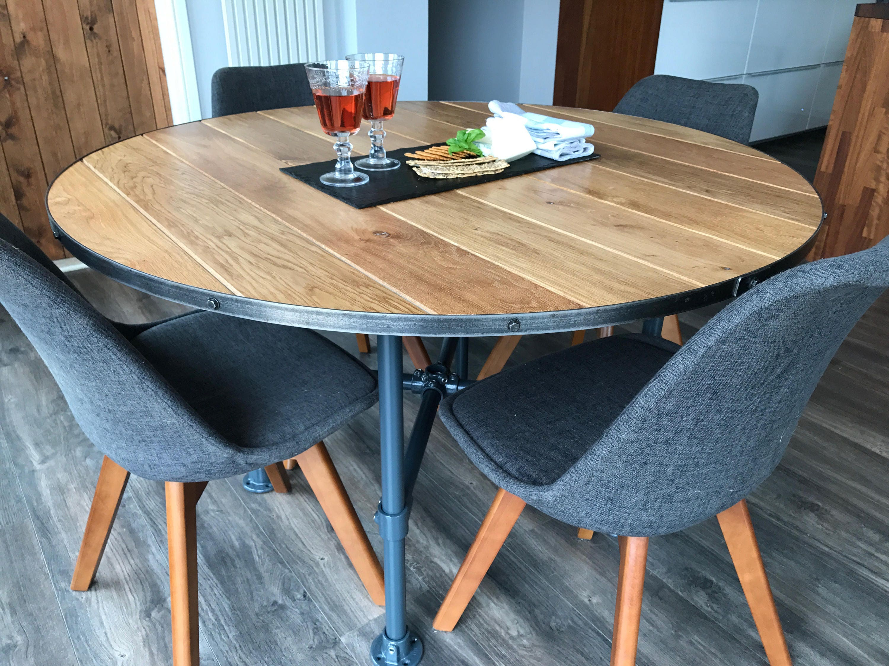 Solid Oak Industrial Style Dining Table, Round Oak Kitchen Table, Industrial  Chic, Steel Band Edge With Black Coach Screw Detailing