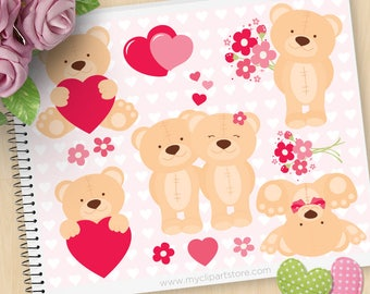 Valentine Teddybear Clipart, Cute Teddy, Valentine bears, red hearts, Spring Flowers, Commercial Use, Vector clip art, SVG Cut Files